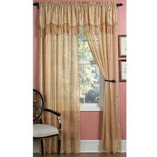 GOLDEN 2-IN-1 DRAPERY CURTAINS & VALANCE SET beads NEW tassels REG $50 Wash/Dry