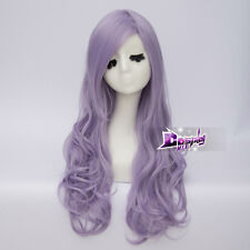 75cm Long Light Purple Curly Heat Resistant Lolita Cosplay Wig + Free Cap