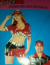 Race Car Driver Pit Crew Sexy Adult Womens Costume NASCAR MED FREE HAT INCLUDED