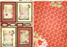 My Paper Stash Foiled Christmas Toppers &A4 Backing Card POINSETTIA SCROLL AC360
