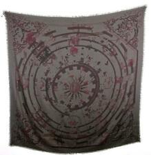 Hermes Taupe and Plum Sundial Astrology Print Cashmere Large Scarf France 76-750