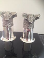Matching Antique Fox Head Stirrup Cup's