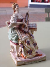 VINTAGE DRESDEN GERMAN PORCELAIN YOUNG LADY WOMAN PLAYING GUITAR FIGURE FIGURINE