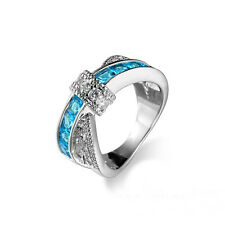 Hot Aquamarine Criss Cross White Gold Filled Wedding Ring Size 7 Jewelry BCCX99