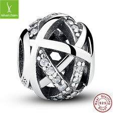 European Solid Fine S925 Sterling Silver Charm Galaxy Clear CZ Ball For Bracelet