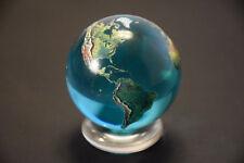 """Beautiful 2"""" Crystal Glass Earth Globe Marble Sphere Orrery"""