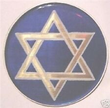 """JEWISH STAR of DAVID 2"""" EPOXY CAR EMBLEM STICKER NEW"""