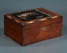 Inlaid mahogany and rose wood sewing box with fitted interior with si... Lot 342