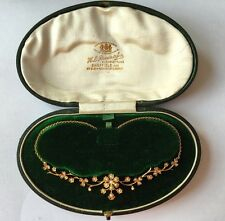 Antique Victorian Original Fitted Boxed Seed Pearl 15ct Gold Necklace English