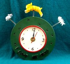 "Cat kitten novelty 4.5"" Wall Clock feline I love my cat mouse fish green spring"
