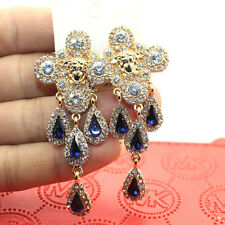 Sapphire Clear Rhinestone Crystals Chandelier Earrings Drag Queen Show Pageant