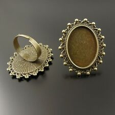** 37019 Antique Bronze Alloy Jewelry Adjustable Tray Cameo Setting Ring 4pcs