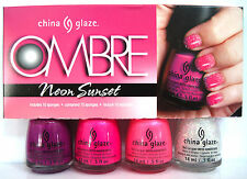 CHINA GLAZE OMBRE NEON SUNSET 4-Pc POLISH SET~Dragon Purple Hang-Ten Luxe *NIB