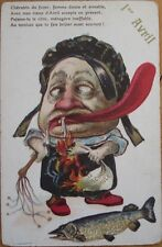 1905 Color Litho First/1st of April Postcard-Woman w/Giant Tongue Drools on Fire