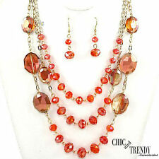 """HIGH END """"CORAL"""" GREEN AB CRYSTAL CHUNKY LONG NECKLACE JEWELRY SET CHIC & TRENDY"""