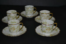 ANTIQUE ELITE LIMOGES BAWO & DOTTER HAND PAINTED SET OF 5 DEMITASSE CUPS WITH SA