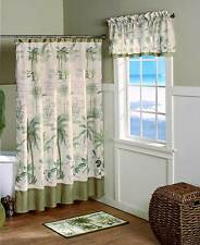 Tropical Paradise Palm Trees Shower Curtain Rug Hooks Basket Beach Bath Set