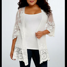 TORRID Womens PLUS Size 2 3 Cream Lace KIMONO Cardigan Shirt Top 2X 3X 18 20 22