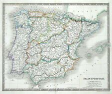 SPAIN & PORTUGAL, Dower,Teesdale original antique map 1841
