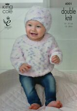 KNITTING PATTERN Baby Long Sleeve Round Neck Jumper and Hat Cuddles DK KC 4001