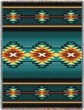 Pure Country Weavers Southwest Geometric Turquoise II Tapestry Throw 6635-T 48 i