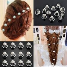 12pcs  Wedding Bridal Pearl Hair Clips Twist Pins Flower Spirals Crystal