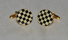 Chequered Flag Pavement Board Enamel & Gold Plated Cufflinks (CF014)