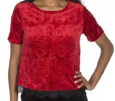MODA Womens M MEDIUM Velvet Burnout Top Blouse Red Short Sleeve Lace Trim STRETC