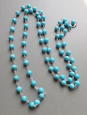 Turquoise blue colour howlite bead long necklace .. flapper elegant jewellery