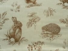 Sanderson Curtain Fabric SQUIRREL & HEDGEHOG 1.25m Henna/Wheat 125cm Linen Mix