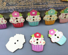 20X Wooden Sewing Buttons Flowers Ice cream shape Fit Scrapbooking Crafts 30mm