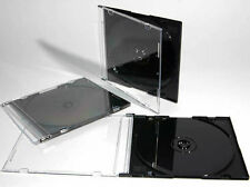 200 x Single CD Jewel Case 5.2mm Spine  Slim Black Tray New Replacement UK STK