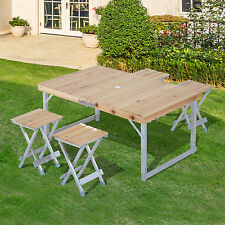 Outsunny Wood Folding Picnic Table Desk Set Aluminum Camping Portable w/ Chairs