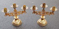 + Pair of Brass 3 Light Altar Candelabra Candlesticks + chalice co. (CU703)