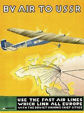 TRAVEL TOURISM SOVIET UNION AIRPLANE USSR MAP MOSCOW ART POSTER PRINT LV4245