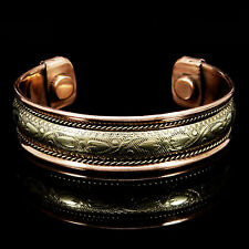 Indian Wide Pure Copper Arthritis Therapy Armband Magnetic Healing Cuff Bracelet