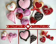 Heart Felt Cookies PDF Pattern, Felt Food E-Pattern Felt Heart Cookies Pattern