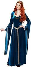 Lady Guinevere Adult Women Costume Blue Velvet Gown Gold Trim Belt Half Crown S