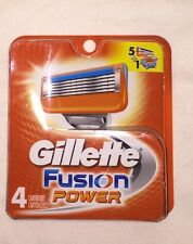 4 Gillette Fusion POWER Razor Blades NEW 4 CARTRIDGE PACK 100% AUTHENTIC,GENUINE