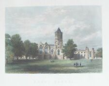 OLD ANTIQUE PRINT RUGBY SCHOOL WARWICKSHIRE c1860's by J GODFREY ENGRAVING