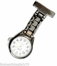 NEW FIRST HAND HEALTHCARE WATCH THERAPIST NURSE GUNMETAL PLATED CHAIN