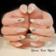 False Nails Stiletto Full Cover Gold Glitter Tip 3d Rhinestone Wedding S-17226