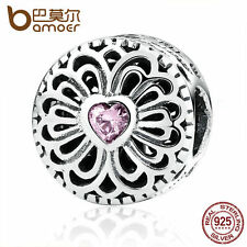 Bamoer Authentic S925 Sterling Silver Charms Love & Friendship, Pink CZ jewelry