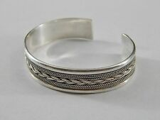 Vintage 925 Sterling Silver Finely Detailed Cuff Bracelet Unknown Hallmark