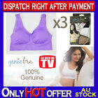THREE Genuine Genie Bra Comfort Support Seamless S M L XL XXL XXXL Purple