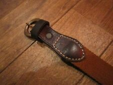 POLO RALPH LAUREN VINTAGE DOUBLE RL RRL BROWN LEATHER & CANVAS BELT 28w $185+
