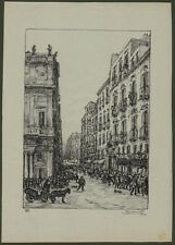 NAPOLI. Via Toledo. Litografia, anno 1924, di Antonio Carbonati (1893 - 1956)