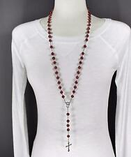 "Dark Red glass bead beaded rosary silver cross 30"" long necklace faux pearl"
