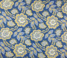"P KAUFMANN YAZMIN LAGOON BLUE YELLOW FLORAL FURNITURE FABRIC BY THE YARD 54""W"