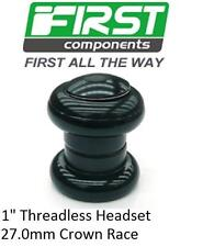 "First 1"" Bicycle Threadless Headset Sealed Bearing BLACK 27.0mm Crown Race 3024"